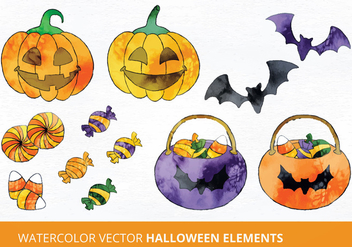 Watercolor Halloween Vector Illustration - Free vector #335475