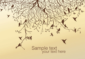 Tree and Bird Vector - vector gratuit #335625