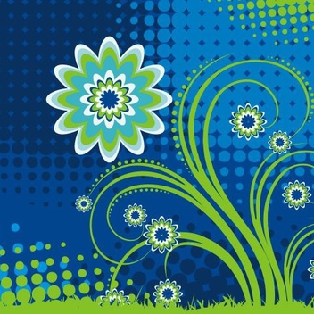 Swirling Floral Plant Halftones Background - Kostenloses vector #335825