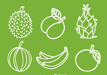 Fruits White Icons - vector gratuit #336125