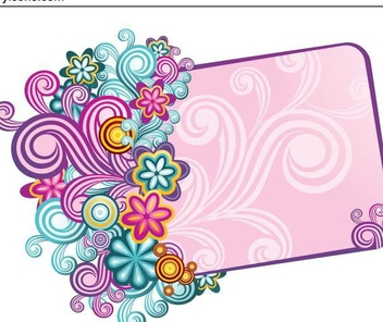 Vintage Colorful Swirling Frame Banner - vector gratuit #336345