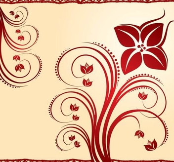 Red Swirls & Border Decoration - Free vector #336375