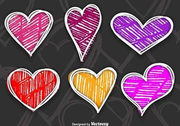 Colorful hand drawn hearts - vector gratuit #336495