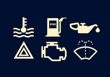 Vector Set of Car's Dashboard Signs - Free vector #336555