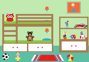 Vector Illustration of a Chlid's Room - vector gratuit #336665