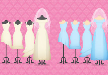 Bride And Bridemaid Dresses - Free vector #337065