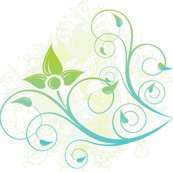 Blue Green Swirling Plant - vector gratuit #337215