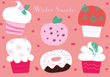 Free Christmas Cupcakes Icons Vector Background - vector gratuit #337265