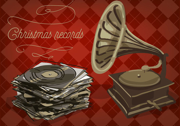 Free Christmas Vinyl Records Vector Background - бесплатный vector #337325