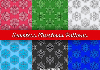 Seamless Multicolor Snowflake Pattern Set - Free vector #337405