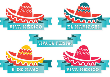 Cute Mexican Hat Label Set - Free vector #337675