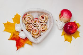 Roses made of dough and apples - Free image #337845