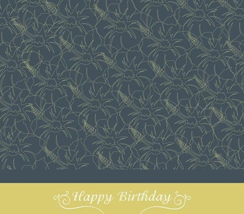 Floral Texture Birthday Card - vector gratuit #338185