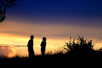 Silhouette of couple at sunset - image gratuit(e) #338525