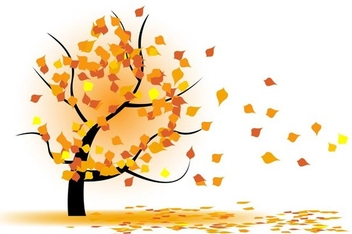 Autumn tree in wind - vector gratuit #339045