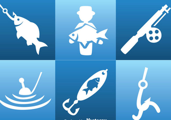 Fishing White Icons - vector gratuit #339255