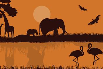 African Safari Silhouette - Free vector #341015