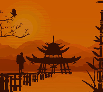 Oriental Sunset Background - Kostenloses vector #341085