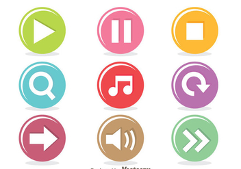 Colorful Music Player Circle Button - Kostenloses vector #341705