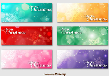 Colorful Christmas Shiny Banner Set - vector gratuit(e) #342015