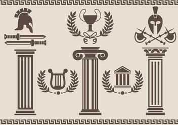 Roman Pillar Silhouette - vector gratuit #342245