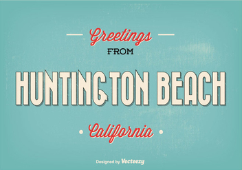 Huntington Beach Retro Greeting Illustration - Free vector #342265