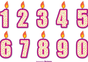 Cute Birthday Number Candle Set - vector gratuit #342285
