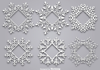 Snowflake Shaped Christmas Frame Set - Free vector #342405
