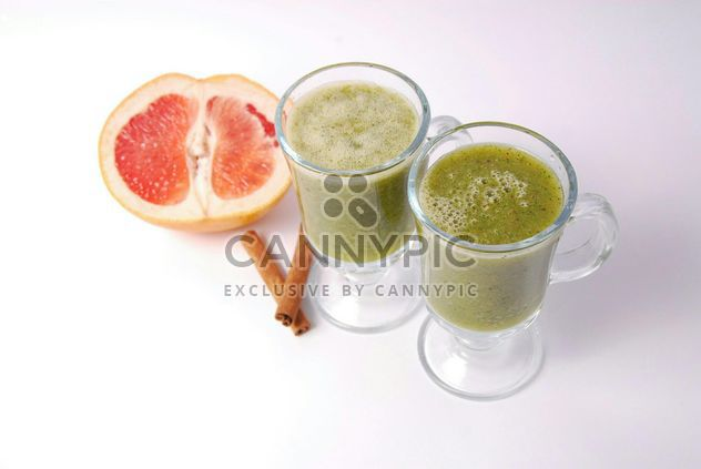 Kiwi and citrus fresh juice in two glasses - Free image #342525