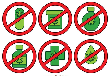 No Drugs Isolated Icons - vector gratuit(e) #342645