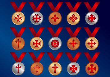 Crosses Medals Vector Icons - бесплатный vector #343115