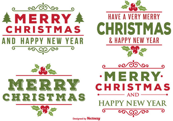 Beautiful Christmas Label Set - vector gratuit #343345