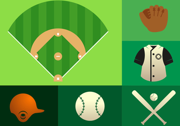 Baseball Elements Illustration - Free vector #343465