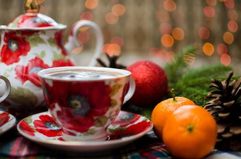 Christmas Eve, warm coffee, mandarin and Christmas toy - бесплатный image #343595