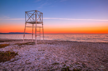 Sunrise and tower at Spiaggia delle Saline Beach, Stintino (Sardinia, Italy) - Free image #344425
