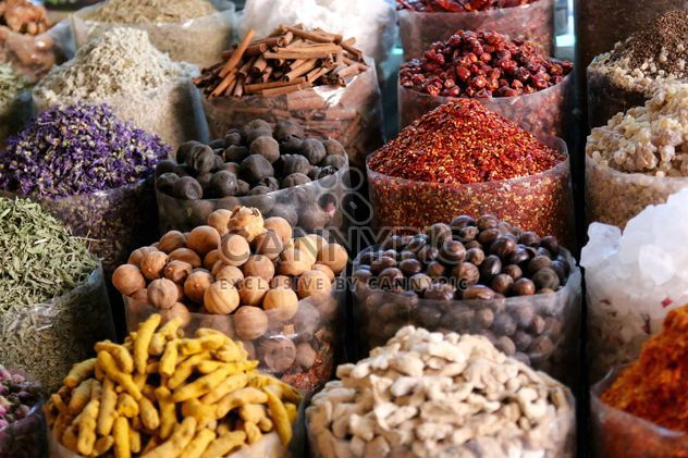 Colorful spices in packages at market - Free image #344555