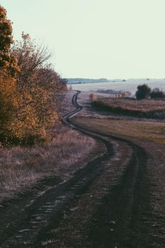 Autumn landscape with ground road - Free image #344595