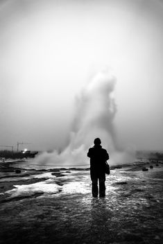 Geyser - Iceland - Black and white street photography - Free image #344975