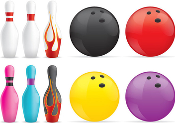 Bowling Pins And Balls - vector gratuit #345145