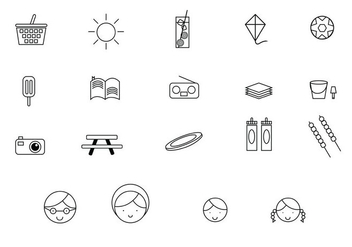 Family Picnic Line Icons - Free vector #345215