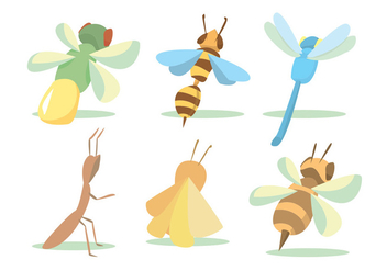 Flying Bug Vector Set - Kostenloses vector #345375
