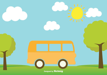 Cute Minibus Illustration - Free vector #345435