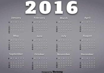 Calendar of year 2016 - Kostenloses vector #345565
