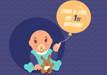 Free Vector 1st Birthday Invitation Card - Free vector #345935