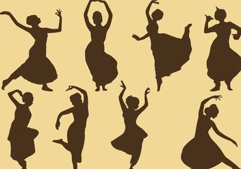 Indian Woman Silhouettes - vector gratuit #346005