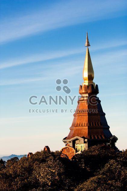 Doi Inthanon pagoda against blue sky, Chiangmai, Thailand - Free image #346295