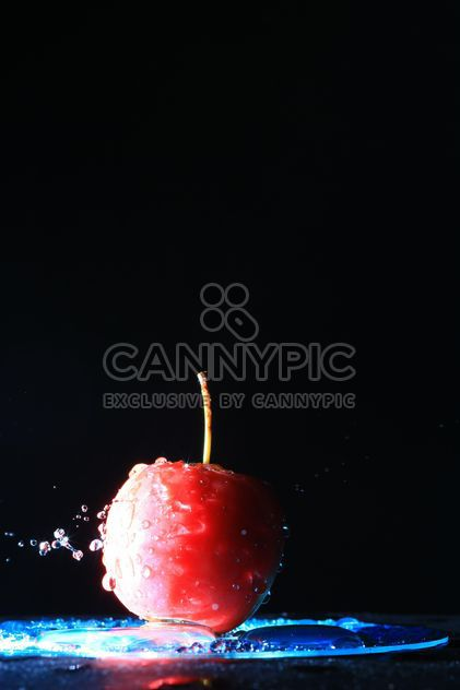 Red apple in water on black background - Free image #346615