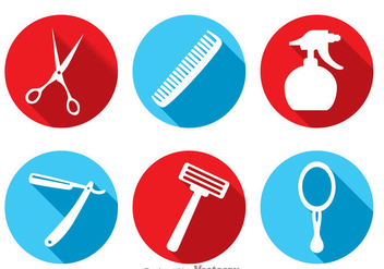 Barber Tools Long Shadow Icons - Free vector #346735