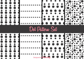 Black and White Dot Pattern Vector Set - Free vector #346795