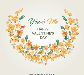 Watercolor flowers valentine's greeting card - бесплатный vector #346875
